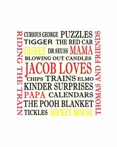 Personalised Word Art for a kids bedroom