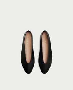 V-CUT LEATHER BALLERINAS-Flat Shoes-SHOES-WOMAN | ZARA United States