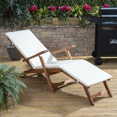 Alfresia Wooden Steamer Deck Chair with Choice of Vibrant Cotton Cushion (Cream) Outdoor Chairs, Outdoor Furniture, Outdoor Decor, British Garden, Colourful Cushions, Steamer, Sun Lounger, Outdoor Living, Garden Design