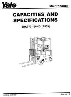 Yale Reach Truck Type C849: MR14(H), MR16 (H, N), MR20 (H