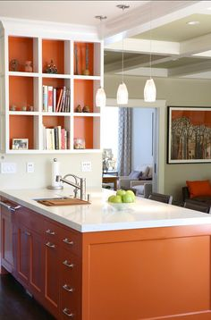 Blue and orange Kitchen Decor. Blue and orange Kitchen Decor. Burnt Orange Kitchen, Orange Kitchen Decor, Kitchen Colors, Home Decor Kitchen, Kitchen Ideas, Orange Kitchen Walls, Purple Kitchen, Basement Kitchen, Kitchen Modern