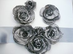Grey Sash Belt Handmade Roses Fashion Satin Floral accessories