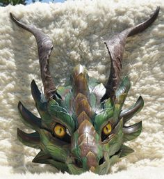 Dragon mask- imagine if it had a moving jaw! Dragon Mask, Dragon Head, Fantasy Creatures, Mythical Creatures, Larp, Kitsune Maske, Dragons, Cool Masks, Leather Mask