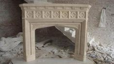 French Gothic Style on this Hand Carved Marble Mantel Fireplace