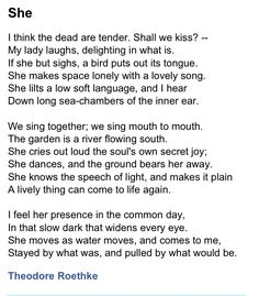 She by Theodore Roethke