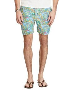 POLO RALPH LAUREN Traveler Paisley Swim Trunks. #poloralphlauren #cloth #trunks