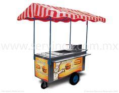 Carrito Para Hot Dogs Y Hamburguesas Mod CH 170  CARACTERISTICAS:  Carro térmico con cubierta de Acero Inoxidable  Incluye:  Freidora c/canastilla  Plancha  Vaporera  3 insertos p/verdura  Repisa para comensal  Toldo  Lona.  Listo para trabajar