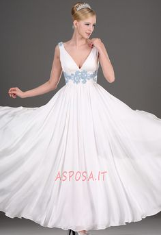 V-necked Embroidered White Silk Chiffon Wedding Dress 15ddd3b118a