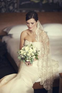 Breathtaking antique lace veil not sure if this is your style, but it is beautiful