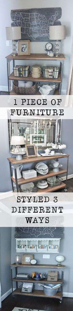 Sharing my favorite farmhouse finds and how functional pieces can be beautiful.  I love this industrial shelf because it is so universal.  I will show you how to decorate it 3 ways.  #DiscoverWorldMarket #WMAffiliate #ad