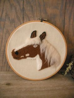 Vintage Punch Needle Embroidery HORSE Wall Hanging Framed Wooden Hoop embroidery