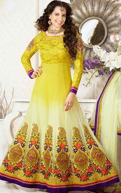 USD 65.44 Kangana Ranaut Yellow Georgette Floor Length Anarkali Suit 42905