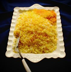 Turmeric & Saffron: Polow - Persian Rice - also add barberries Yellow Rice Recipes, Basmati Rice Recipes, Iranian Cuisine, Iranian Food, How To Cook Rice, Food To Make, Arabic Food, Arabic Dessert, Arabic Sweets