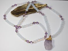 Amethyst and Opal Mala Necklace with Amethyst pendant by MyOhmStyle on Etsy
