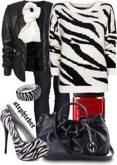 """""""Zebra Print Sweater"""" by stephiebees on Polyvore"""