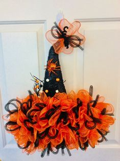 Excited to share this item from my shop: Halloween Witches Hat Door Hanger Halloween Witch Wreath, Halloween Mesh Wreaths, Halloween Door Hangers, Halloween Hats, Halloween Door Decorations, Halloween Witches, Easter Wreaths, Fall Wreaths, Pumpkin Decorations