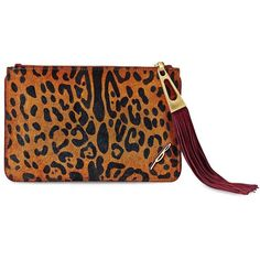 B Brian Atwood Awinfred Calf Hair Pouch ($108) ❤ liked on Polyvore featuring bags, handbags, clutches, leopard, pony hair purse, leopard print clutches, haircalf handbags, leopard purse and leopard calf hair handbag