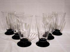 Crystal Tumblers Black Footed Base Vintage #Unbranded Crystal Glassware, Pint Glass, Tumblers, Base, Crystals, Elegant, Tableware, Vintage, Classy