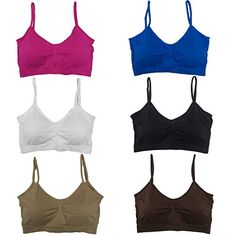 41ad8f527c Womens 6 Pack Plus Size Adjustable Straps Padded Scoopneck Wire Free  Bralettes Bras 2XL3XL  gt