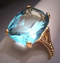 Antique Blue Topaz Ring Vintage Art Deco Estate Setting (item #1228046)