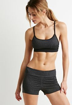 Contrast Mesh-Paneled Athletic Shorts | Forever 21 | #f21active