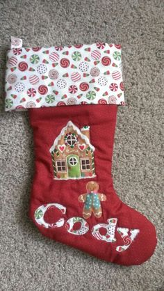 Christmas stocking #gingerbread #red #candy