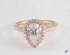 41436 engagement rings, halo, 14k rose gold pave halo and shank diamond engagement ring pear center item - Mobile