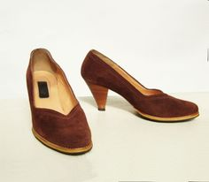 70s Shoes 1970s Vintage Suede Cinnamon Pumps Sz 6. $29.00, via Etsy.