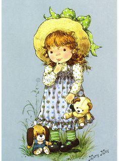 Soloillustratori: Mary May Holly Hobbie, Vintage Cards, Vintage Postcards, Sara Key Imagenes, Mary May, Sarah Key, Vintage Drawing, Art Clipart, Cute Illustration