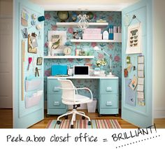 Colorful + clever closet office space