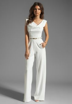 white+jumpsuit | Black Halo Jackie Jumpsuit in White (winter white)