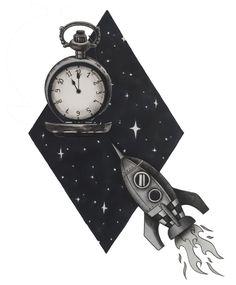 illustration/graphisme/dessin/draw/réalisme/art/artiste/fusée/montreàgousset/galaxie Feutres à alcool et crayons de couleurs Pocket Watch, Illustration, Bracelet Watch, Crayons, Bracelets, Accessories, Color Pencil Picture, Contemporary, Drawing Drawing