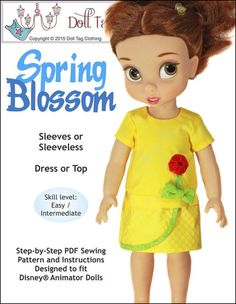 Doll Tag Clothing Spring Blossom Doll Clothes Pattern Disney Animator Dolls | Pixie Faire