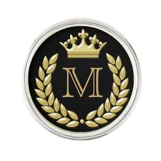 Shop Laurel Wreath and Crown Pin created by MakeUnique. Personalize it with photos & text or purchase as is! Monogram Wreath, Monogram Initials, Logo Background, Background Design Vector, Glitter Background, Law Office Decor, Custom Lapel Pins, Crown Logo, Paper Crafts Origami
