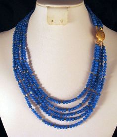 Persian Blue Glass Bead Five Strand Necklace