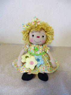 "12"" Primitive Raggedy Ann doll yellow dress  yellow hair  w/ flower ornies #NaivePrimitive"