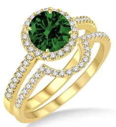 2 Carat Emerald & Diamond Halo Bridal Set Engagement Ring on 10k Yellow Gold. The vintage Emerald and diamond bridal wedding ring set for woman is now available at sale price for limited time. The order comes with free shipping. Give her the perfect Emerald and diamond engagement ring set.  | Price: $598.00 USD on Shygems