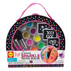 Design and make glitter tattoos for yourself and your friends with this Deluxe Sparkle Tattoo craft kit for girls. Manufactured by Alex Toys.