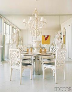 White out and glam Breakfast room...