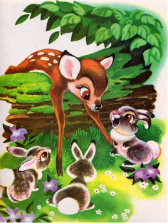 Items similar to Walt Disney's Bambi + Baby Bunnies Book Print Forest Animal Friends, Frameable Nursery Wall Art, Grey Rabbits, Deer Fawn, Thumper on Etsy Bambi Disney, Disney Art, Vintage Children's Books, Vintage Comics, Vintage Kids, Vintage Items, Bambi Art, Walt Disney Studios, Fall Wallpaper