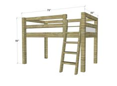 Free Woodworking Plans to Build a Twin Low Loft Bunk Bed - The Design Confidential - The Design Confidential Free DIY Furniture Plans to Build a Twin Sized Low Loft Bunk -