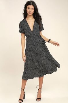 Lulus Exclusive! The Gimme Your Love Black Polka Dot Wrap Dress was made for dancing to love songs! Breezy woven poly, with a fun polka dot print, shapes this wrap dress with fluttering short sleeves, a darted wrap bodice and midi skirt with waist tie.