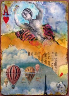 """""""Twirling,"""" altered playing card with collage and mixed media. Laura Tringali Holmes."""