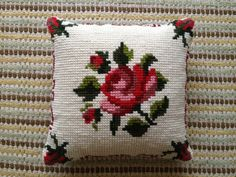 Wool cross stitch Tapestry rose pillow / cushion. £20.00, via Etsy.