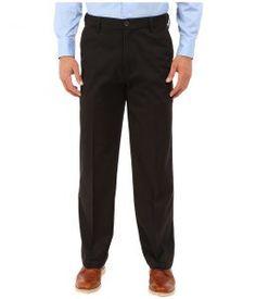 Dockers Men's Comfort Khaki Classic Flat Front (Black Metal) Men's Casual Pants