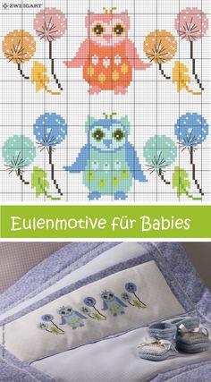 Eulen-Motive für Babies in Mädchen- & Jungenfarben sticken #Sticken #Kreuzstich / #Baby; #Embroidery #Crossstitch / #baby / #ZWEIGART