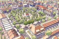 Where are the strip malls?  Neighborhoods that use of land efficiently limit the spread of suburban sprawl. More efficient neighborhood design means that schools, shops, and parks can be closer together, making walking and cycling more efficient. The central square of a prototypical neighborhood for east El Paso, Texas with the inclusion of public space as a key feature.