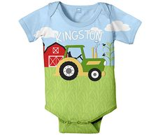 Farm Baby Bodysuit, Personalized Tractor Boy's One Piece Outfit, Custom Onepiece Baby Boy Clothing on Etsy, $24.95