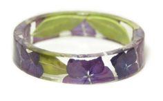 Flower Jewelry- Real Flower Jewelry- Jewelry Made with Real Flowers -Purple Flowers- Purple Bracelet- Resin Jewelry -Purple Bangle