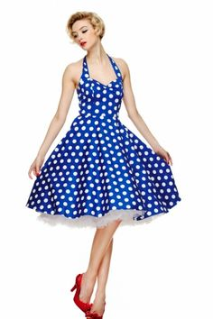 Love this swing dress in Polka blue white!